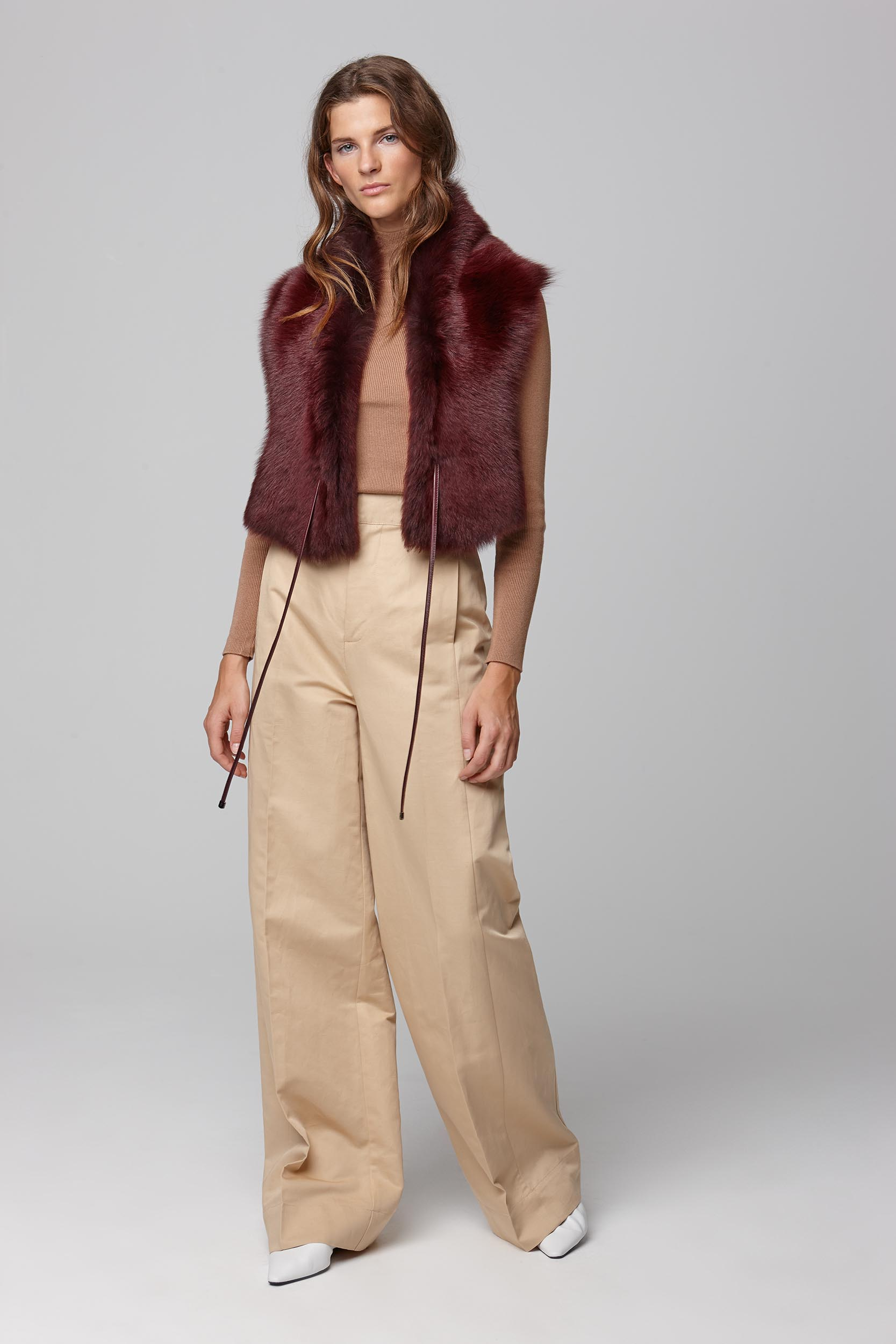 red shearling shawl scarf with leather tie - women | gushlow and cole - cell image 1