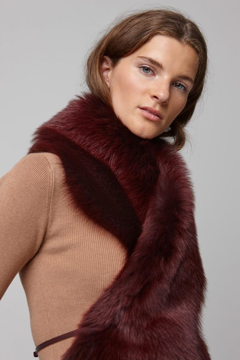 red shearling shawl scarf with leather tie - women | gushlow and cole - cell image 5