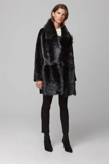 relaxed fit mixed black shearling coat - women | gushlow and cole - cell image 1