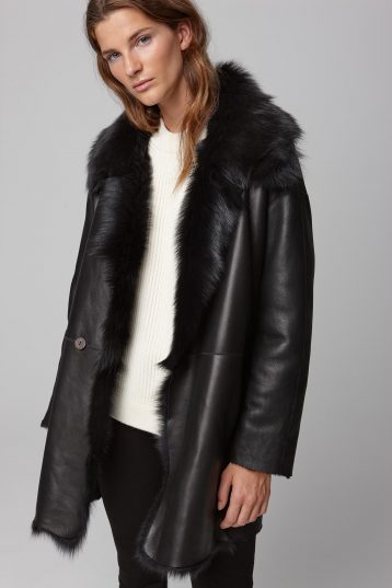 relaxed fit mixed black shearling coat - women | gushlow and cole - cell image 5