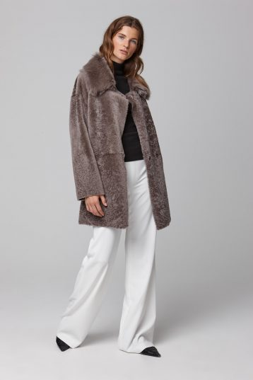 relaxed fit taupe shearling coat - women | gushlow and cole - cell image 1