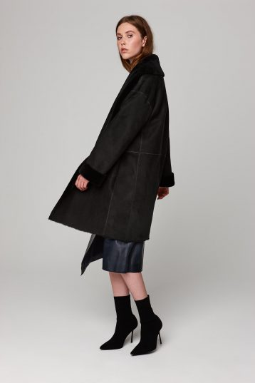shawl collar three quarter length black shearling coat - women | gushlow and cole - cell image 2