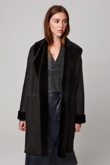 shawl collar three quarter length black shearling coat - women | gushlow and cole - cell image 3