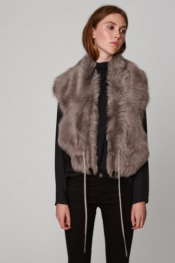 taupe shearling shawl scarf with leather tie - women | gushlow and cole - cell image 3