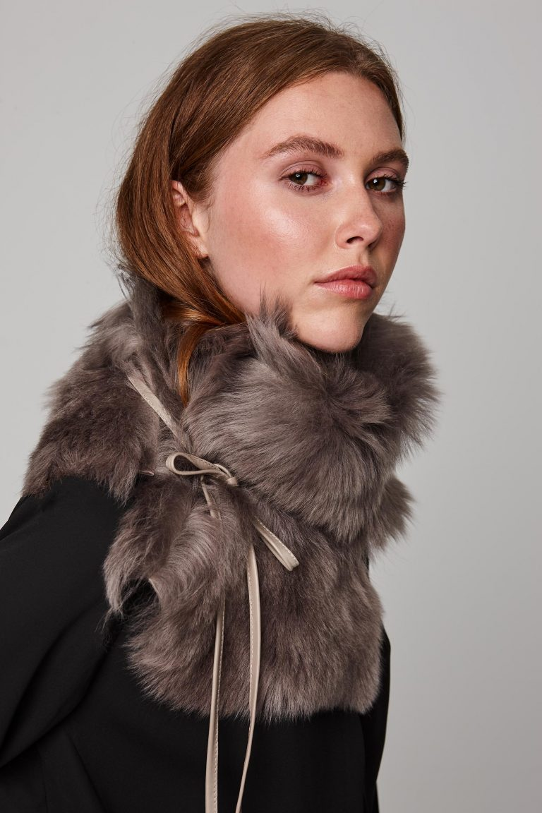taupe shearling shawl scarf with leather tie - women | gushlow and cole - cell image 4