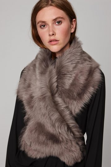 taupe shearling shawl scarf with leather tie - women | gushlow and cole - cell image 5