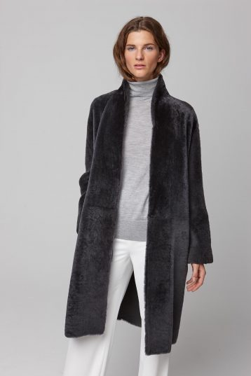 ultra soft stand collar dark grey shearling coat - women | gushlow and cole - cell image 2