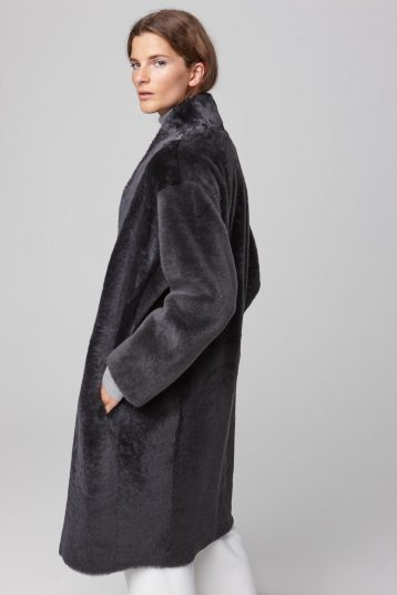 ultra soft stand collar dark grey shearling coat - women | gushlow and cole - cell image 3