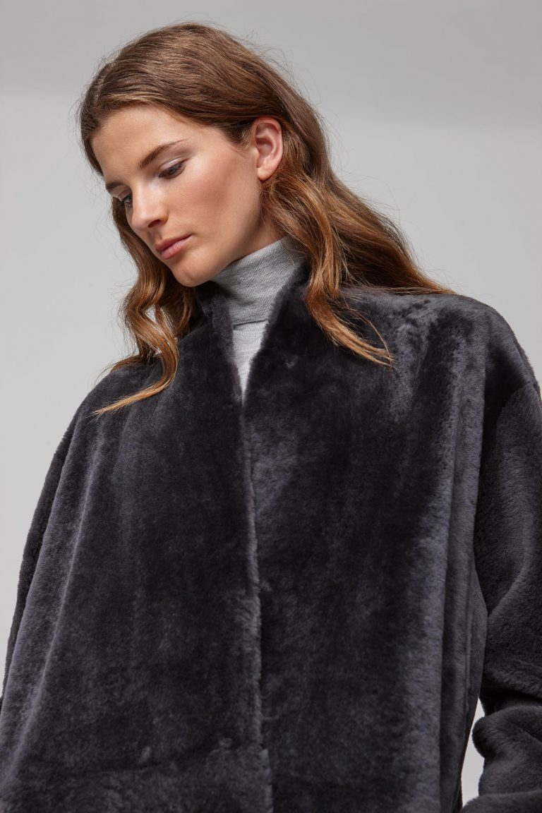ultra soft stand collar dark grey shearling coat - women | gushlow and cole - cell image 4