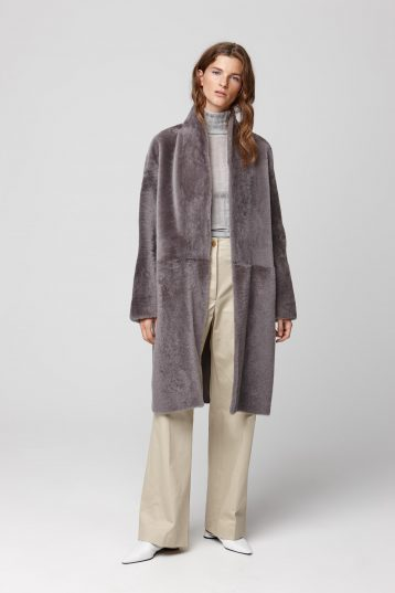 ultra soft stand collar grey shearling coat - women | gushlow and cole - cell image 2