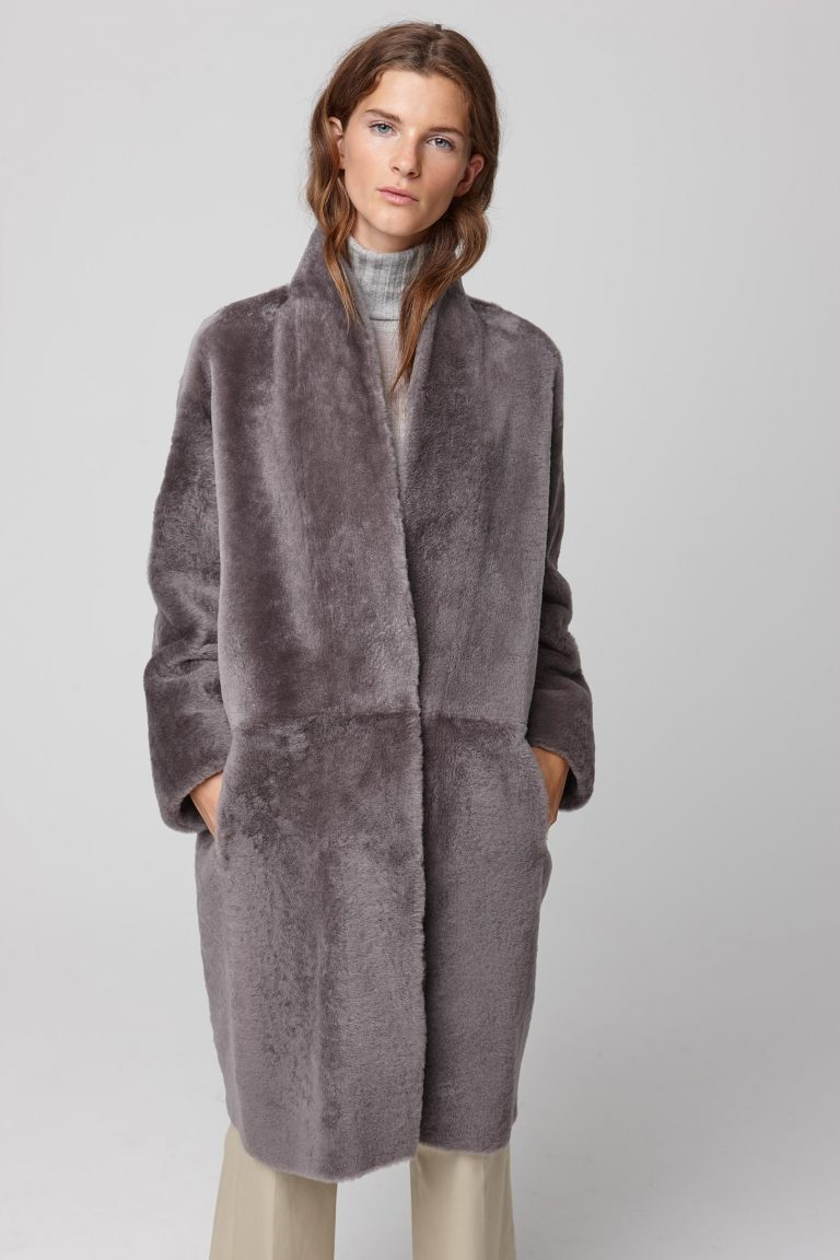 ultra soft stand collar grey shearling coat - women | gushlow and cole - cell image 3