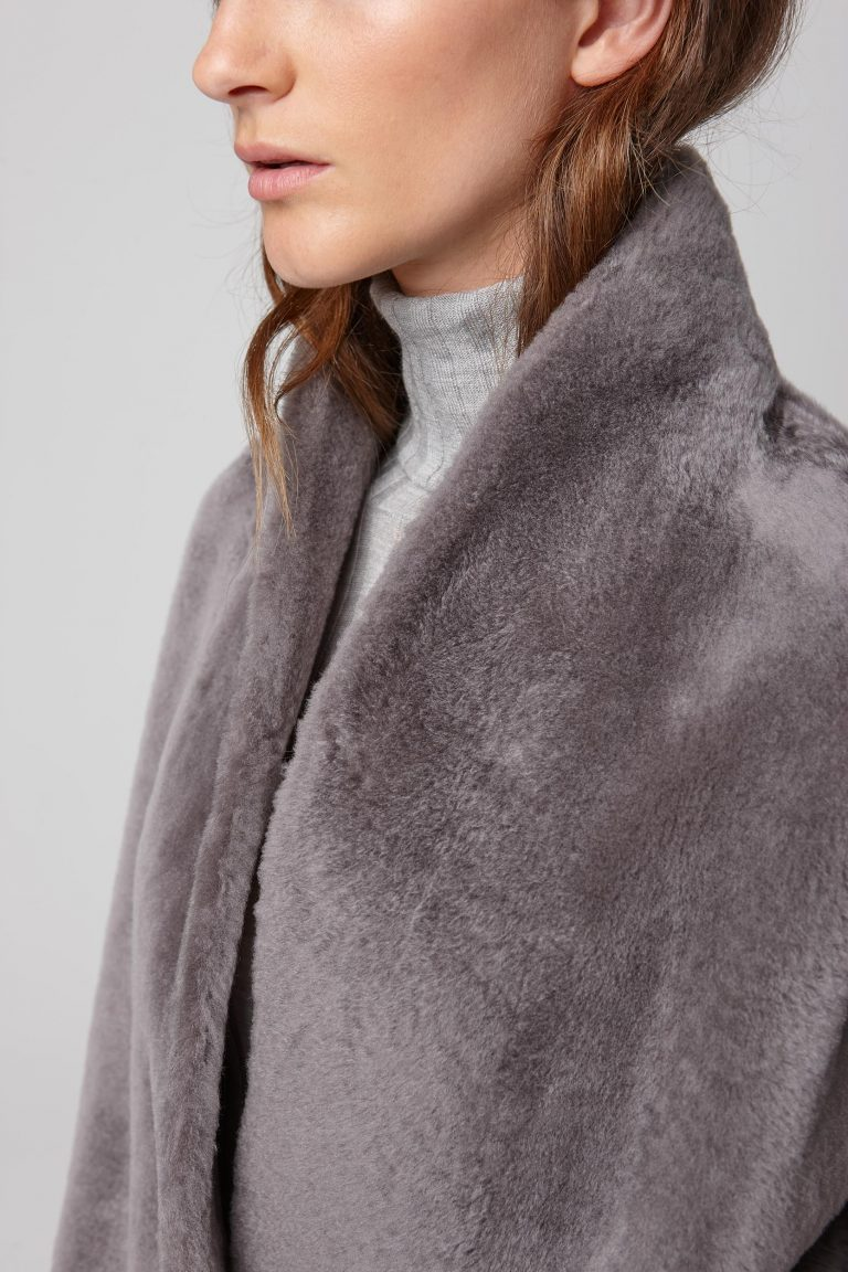 ultra soft stand collar grey shearling coat - women | gushlow and cole - cell image 5
