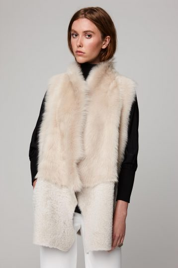 mid length leather and shearling gilet in white - women | gushlow and cole - cell image 2