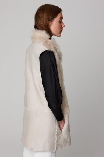 mid length leather and shearling gilet in white - women | gushlow and cole - cell image 3