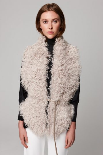 white long shearling scarf with detachable leather belt - women | gushlow and cole - cell image 2