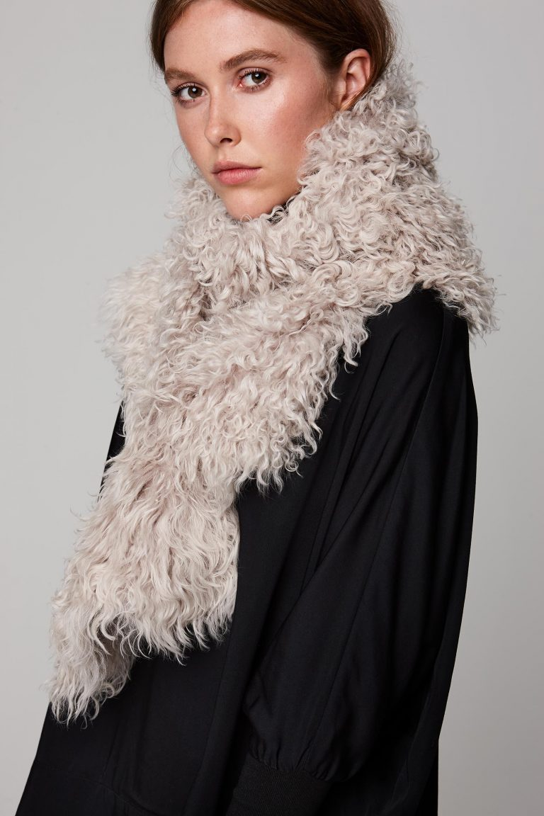 white long shearling scarf with detachable leather belt - women | gushlow and cole - cell image 4