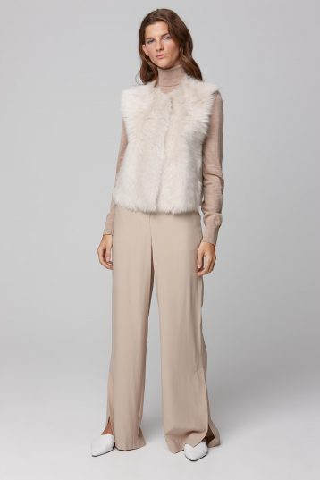 round neck short shearling gilet in white - women | gushlow and cole - cell image 1