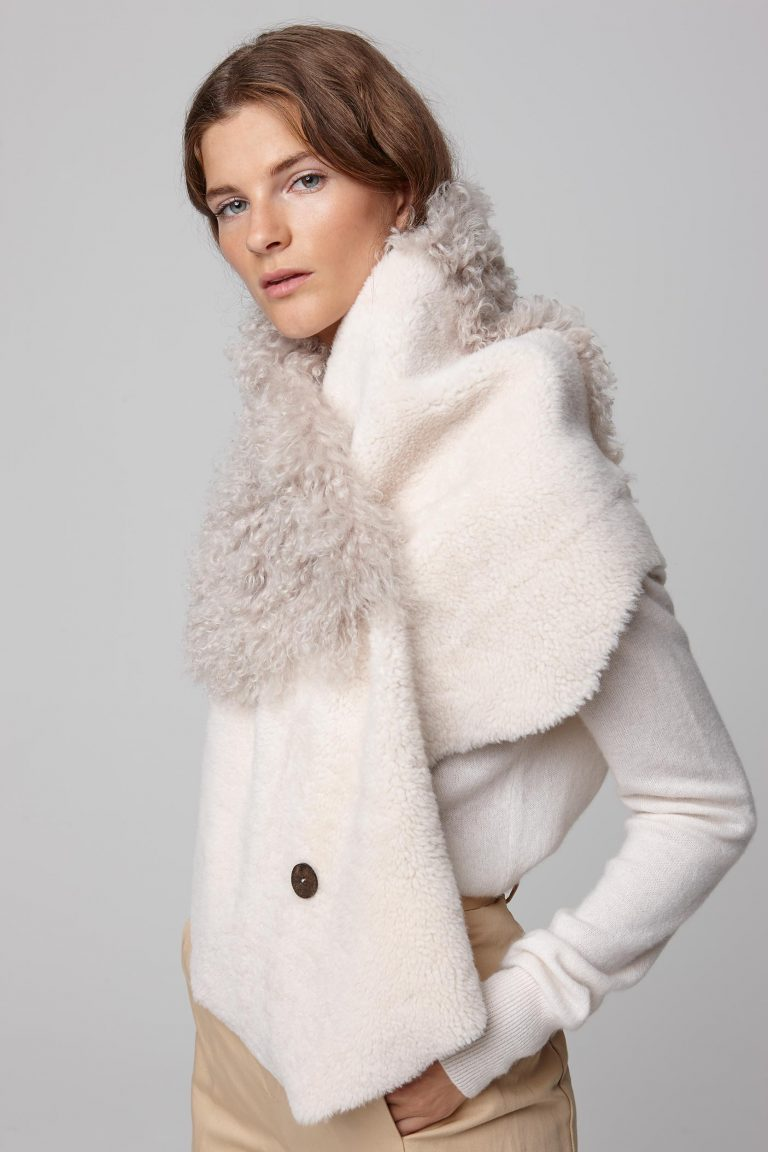shearling double shawl scarf in white - women | gushlow and cole - cell image 3