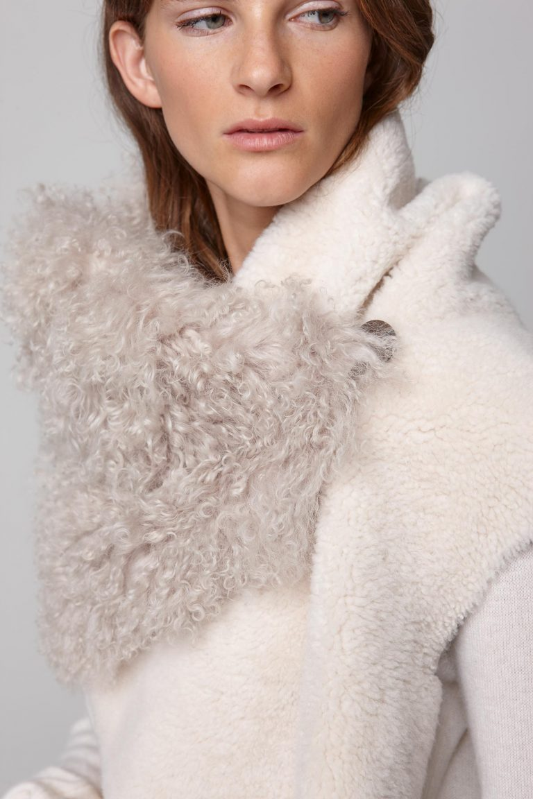 shearling double shawl scarf in white - women | gushlow and cole - cell image 4