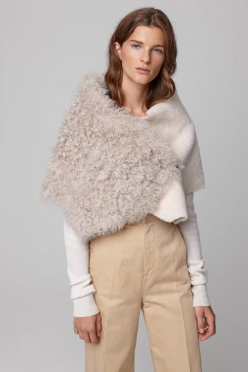 shearling double shawl scarf in white - women | gushlow and cole - cell image 1