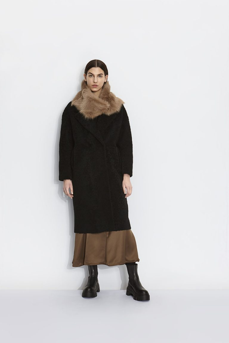Notch Collar Black Shearling Over Coat | Women | Gushlow and Cole model 2
