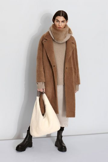 Notch Collar Shearling Coat and hand knit snood | Women | Gushlow & Cole model