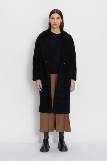 Notch Collar Black Shearling Over Coat | Women | Gushlow and Cole model 1