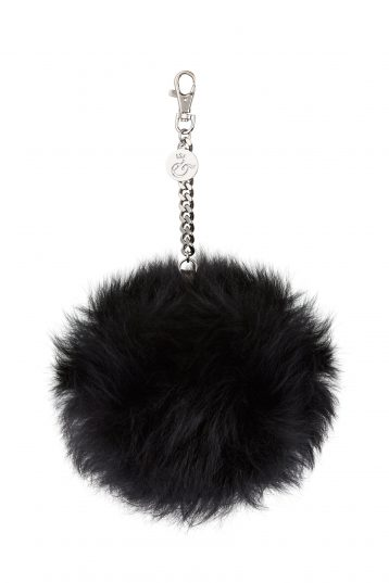 black shearling bag charm - womens| gushlow and cole - cell image 1