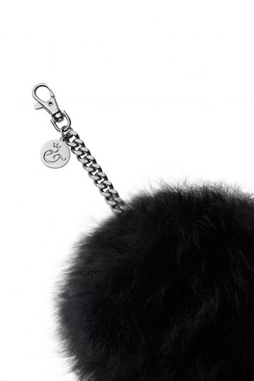 black shearling bag charm - womens| gushlow and cole - cell image 2