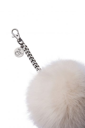 cream shearling bag charm - womens| gushlow and cole - cell image 2