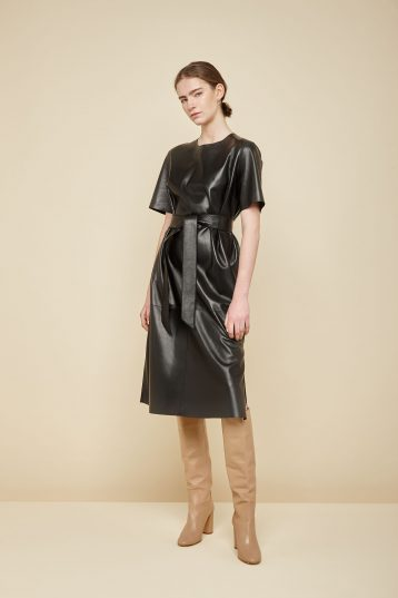 black leather t shirt dress - women | gushlow and Cole - DTSHN1-BLA - 36379