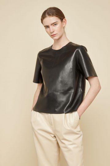 black leather t shirt - women | gushlow and Cole - TTSN0-BLA - 39359