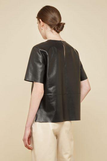 black leather t shirt - women | gushlow and Cole - TTSN0-BLA - 39371