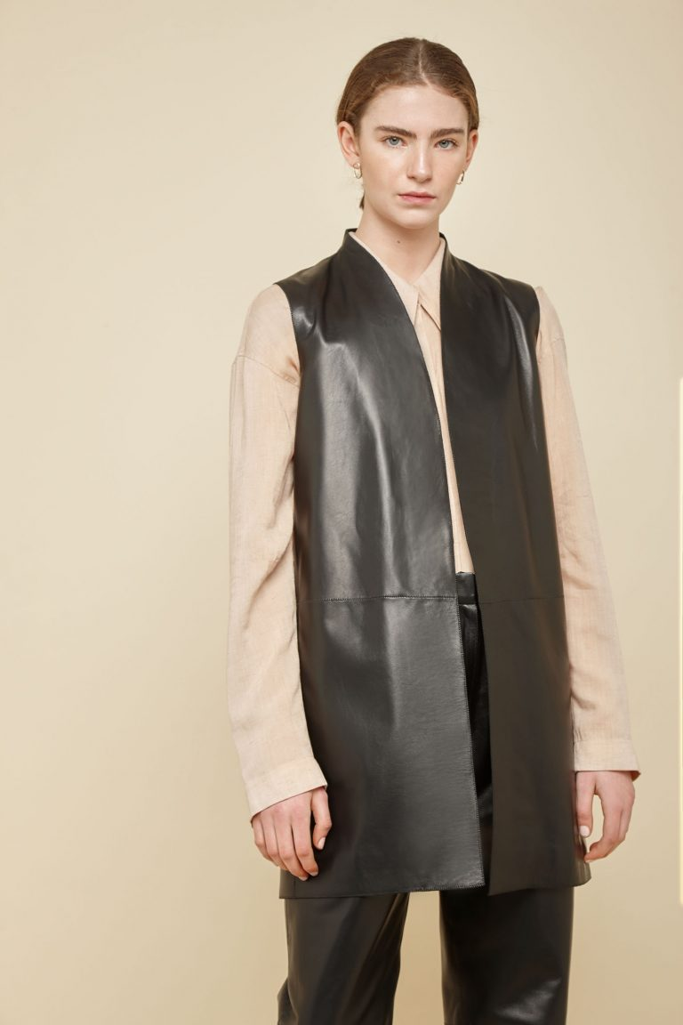 black stand collar leather gilet - women | gushlow and Cole - G3CN0-BLA - 37606