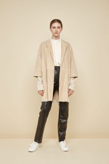 collarless cream suede coat - women | gushlow and Cole - CCLS0-SAN - 39878