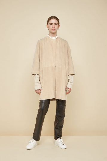 collarless cream suede coat - women | gushlow and Cole - CCLS0-SAN - 39986