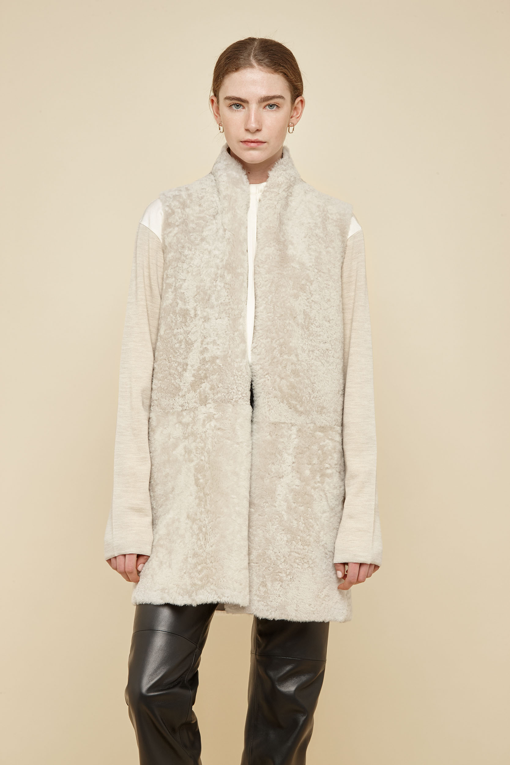 Stand Collar Shearling Gilet In Off White Women