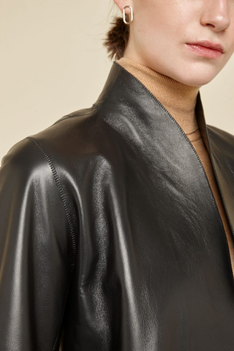 cropped sleeve black leather jacket - women | gushlow and Cole - J3SSN-BLA - 38561