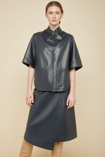 navy leather cape - women | gushlow and Cole - JCFNL0-NAV - 36775