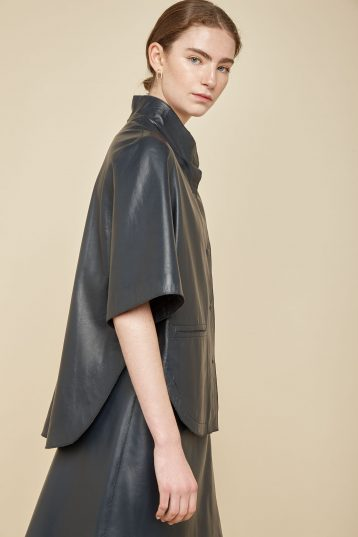 navy leather cape - women | gushlow and Cole - JCFNL0-NAV - 36809