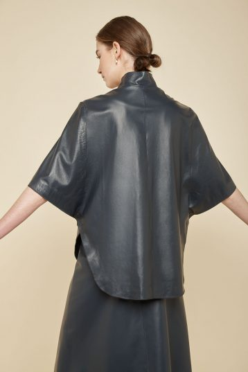 navy leather cape - women | gushlow and Cole - JCFNL0-NAV - 36831