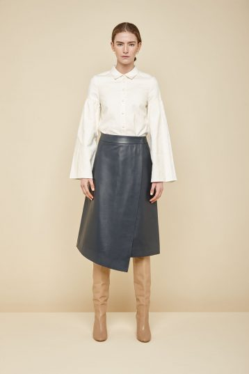 navy leather wrap skirt - women | gushlow and Cole - YWN0-NAV - 36487