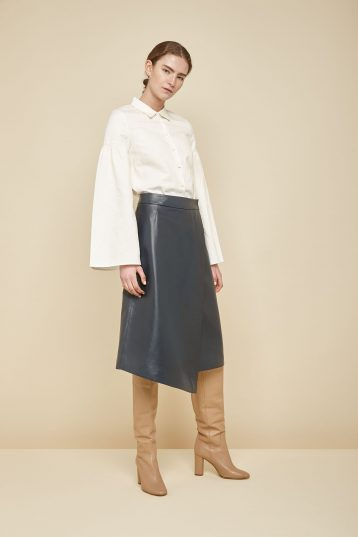 navy leather wrap skirt - women | gushlow and Cole - YWN0-NAV - 36488