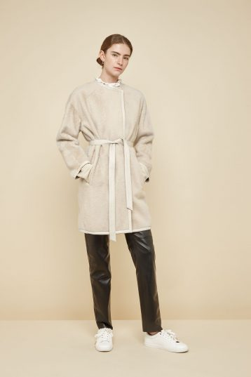 off white collarless shearling car coat - women | gushlow and Cole - CCCL0(WB)-CLK - 40121