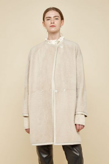 off white collarless shearling car coat - women | gushlow and Cole - CCCL0(WB)-CLK - 40185