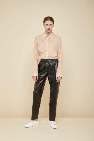 pleated cream leather trousers - women | gushlow and Cole - PPFN0-CRE - 37068