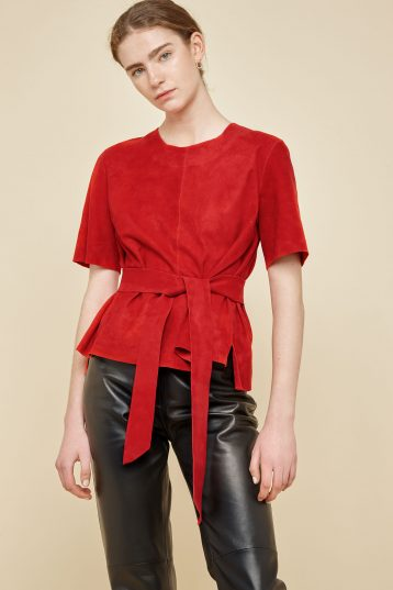 red suede t shirt - women | gushlow and Cole - TTSS0-RED - 39712