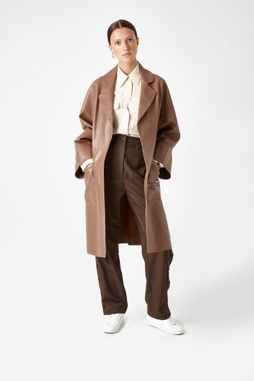 camel leather mac coat - women | gushlow & Cole - CMAN0-WAL