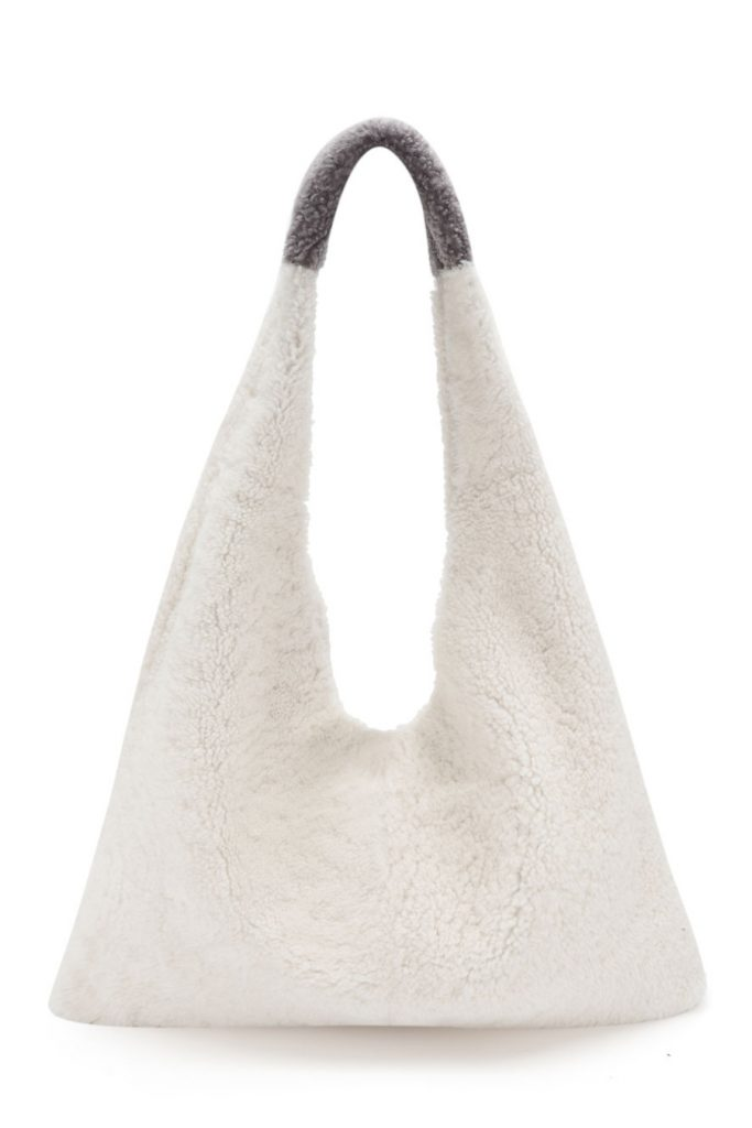 The New Season Shearling Bags - blog post - slouch bag - white