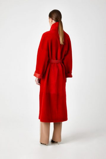 Long Shearling Mac Coat in Red | Women | Gushlow & Cole 6